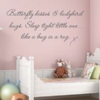BUTTERFLY KISSES CHILDRENS BABY NURSERY WORD ART ~ Wall sticker / decals